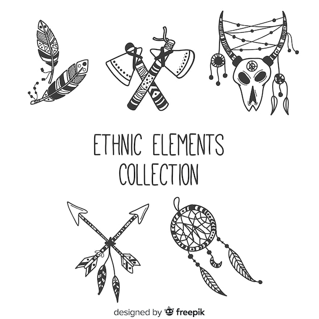 Etnische elementenverzameling Gratis Vector