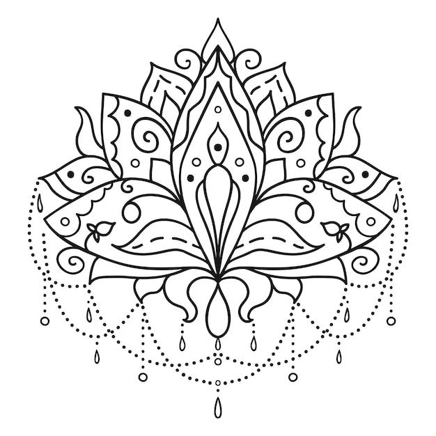 Etnische kunst, sier lotusbloem. Premium Vector