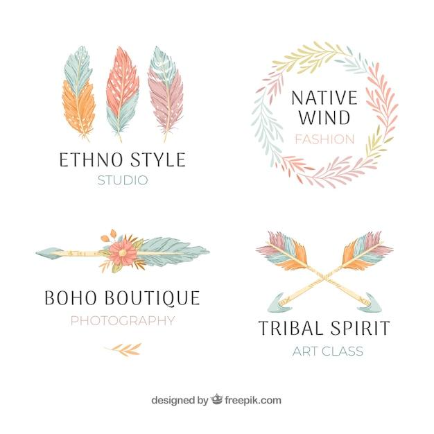 Etnische logo-collectie Gratis Vector