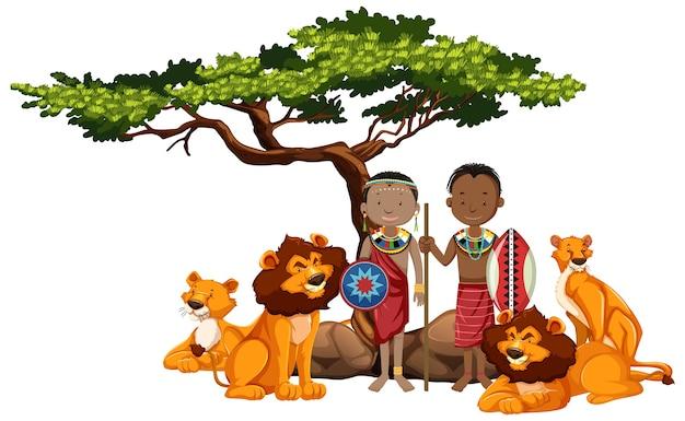 Etnische mensen van afrikaanse stammen en wilde dieren Gratis Vector