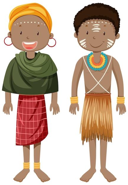 Etnische mensen van afrikaanse stammen in stripfiguur in traditionele kleding Gratis Vector