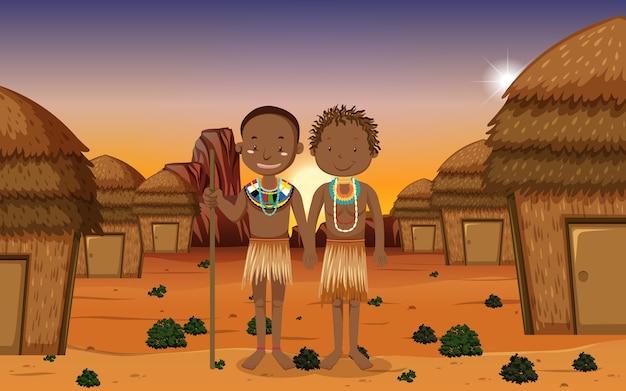 Etnische mensen van afrikaanse stammen in traditionele kleding op aardachtergrond Premium Vector