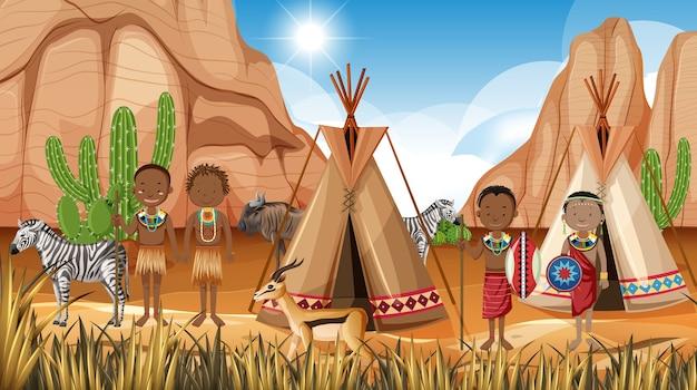 Etnische mensen van afrikaanse stammen in traditionele kleding op aardachtergrond Gratis Vector