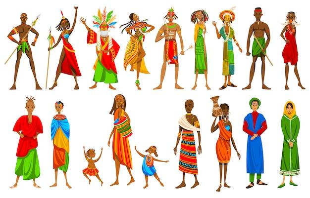 Etnische mensen van afrikaanse stammen in traditionele kleding, set stripfiguren, illustratie Premium Vector