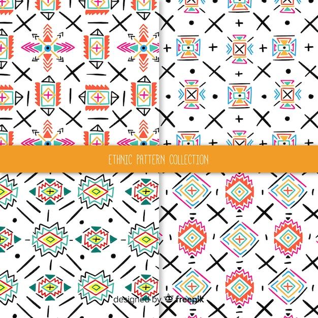 Etnische patroonverzameling Gratis Vector