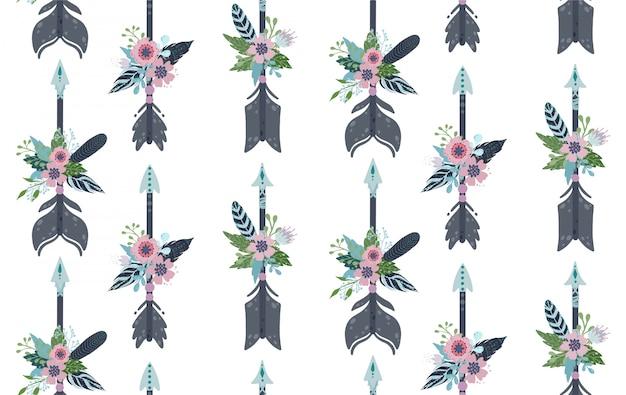 Etnische veren, pijlen en bloemen naadloos patroon. Premium Vector