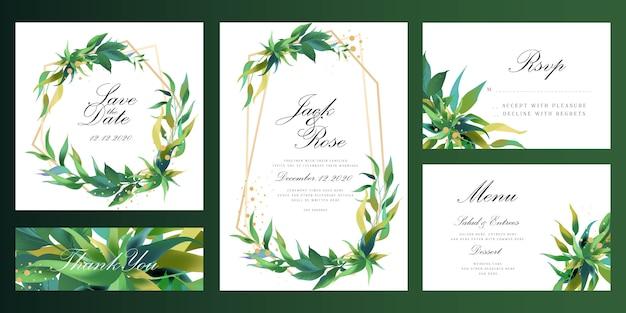 Eucalyptus botanische frame bruiloft uitnodigingskaart Premium Vector