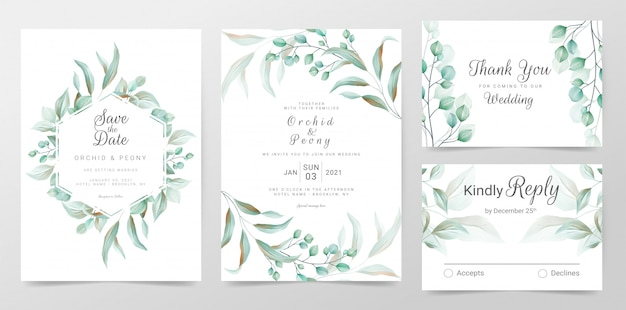 Eucalyptus bruiloft uitnodigingskaarten sjabloon met aquarel kruiden bladeren decoratief Premium Vector