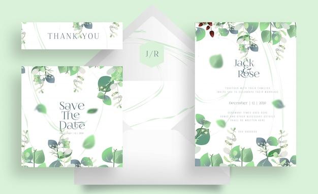 Eucalyptus wedding card set en envelop op witte kleur Premium Vector