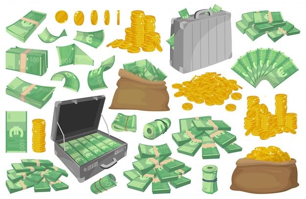 Euro bankbiljet illustratie. cartoon instellen pictogram geld. Premium Vector