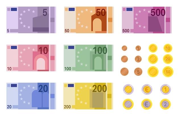 Euro bankbiljetten illustratie Premium Vector
