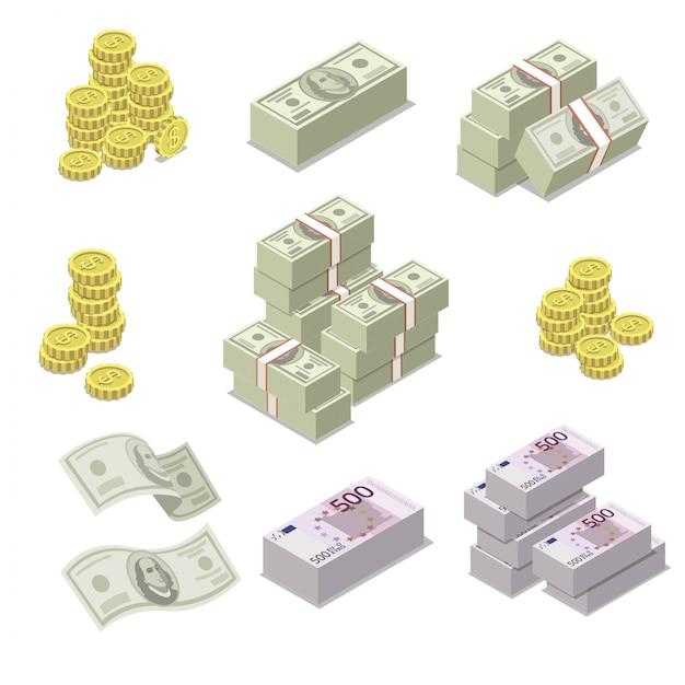 Euro en dollar valuta isometrische pictogrammen Premium Vector