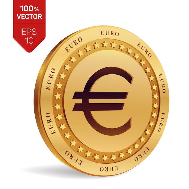 Euro munt. 3d fysieke munt geïsoleerd. Premium Vector