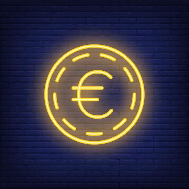 Euro muntstuk op baksteenachtergrond. neon stijl illustratie. geld, contant geld, wisselkoers. Gratis Vector