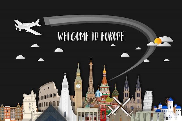 Europa beroemde landmark papier kunst Premium Vector