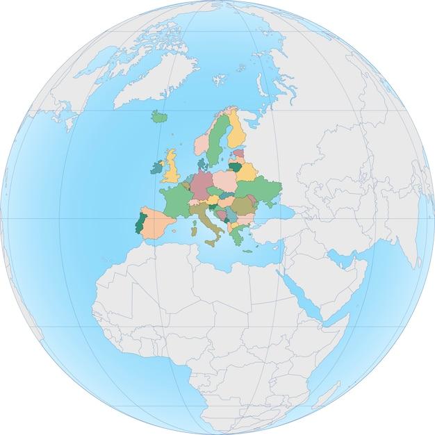 Europa continent is verdeeld per land op globe Premium Vector