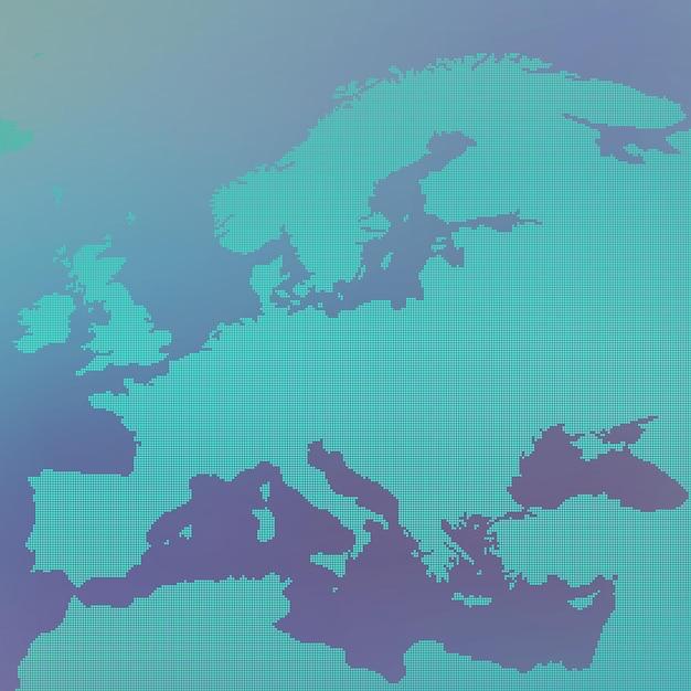 Europa kaart in punt. Premium Vector