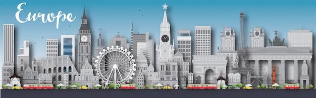 Europa skyline silhouet met verschillende bezienswaardigheden Premium Vector