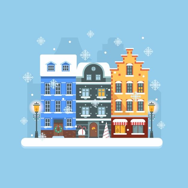 Europa winter straat plat landschap met kleurrijke huizen in europese stijl en kerstversiering. Premium Vector