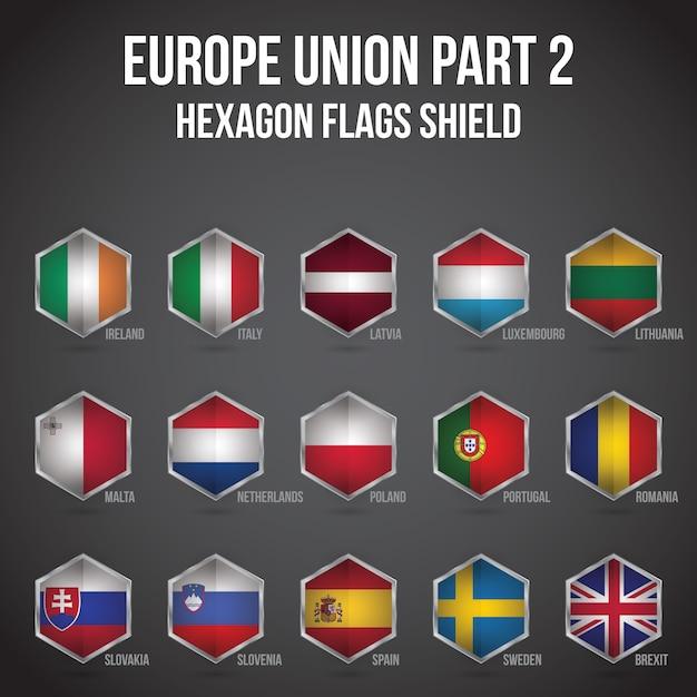 Europe union hexagon flags shield Premium Vector