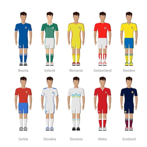 Europees voetbalelftal dummy speler uniforme sjabloon pictogramserie. Gratis Vector