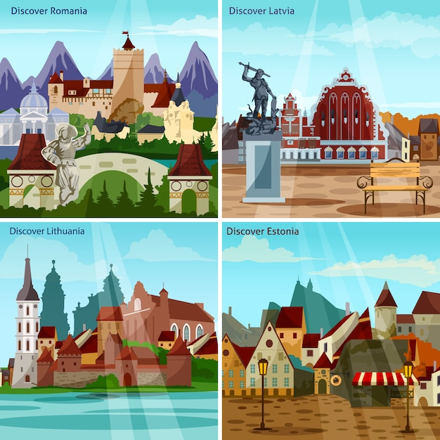 Europese cityscapes-kaartenset Gratis Vector
