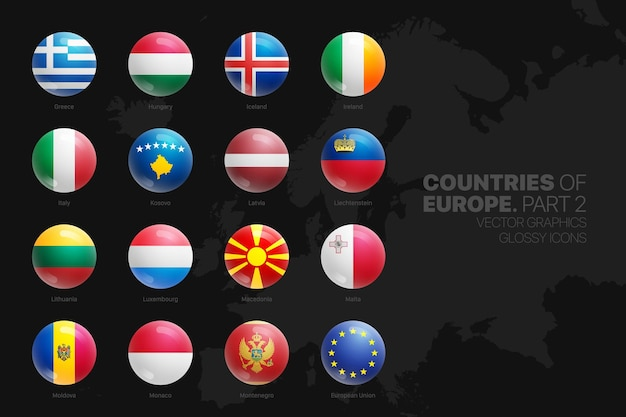 Europese landen vlaggen glanzende ronde iconen set geïsoleerd op zwart Premium Vector