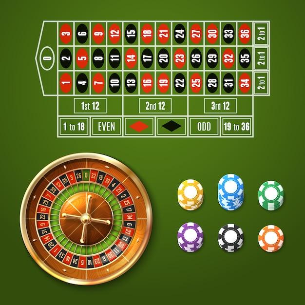 Europese roulette set Gratis Vector