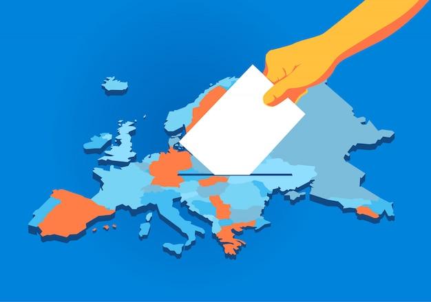 Europese unie verkiezingen, hand met stembiljet, europa kaart achtergrond Premium Vector