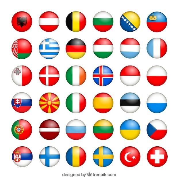 Europese vlaggen collectie Gratis Vector
