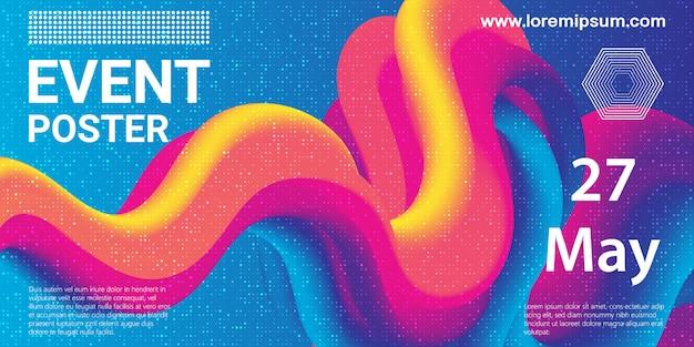 Evenement poster. partij achtergrond. vloeistofstroom. futuristische compositie. vloeibare vormen. abstracte dekking. illustratie. Premium Vector