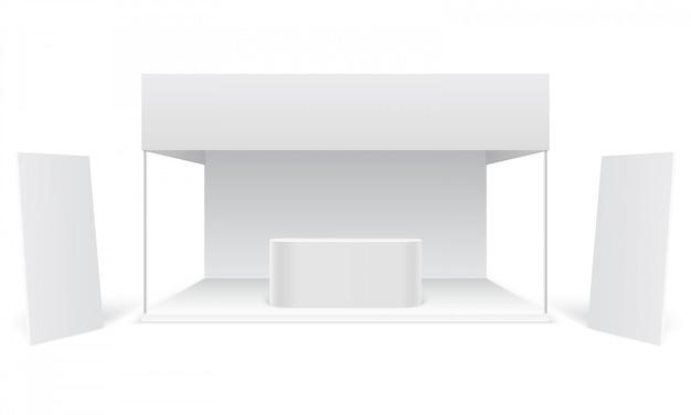 Evenement tentoonstelling beursstand. witte promotionele reclamecabine, blanco display banners. Premium Vector