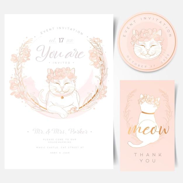 Evenement uitnodigingskaart met schattige witte kat logo Premium Vector