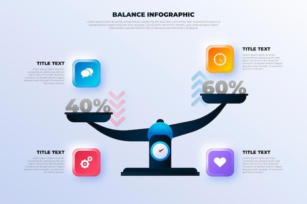 Evenwicht infographics concept Premium Vector
