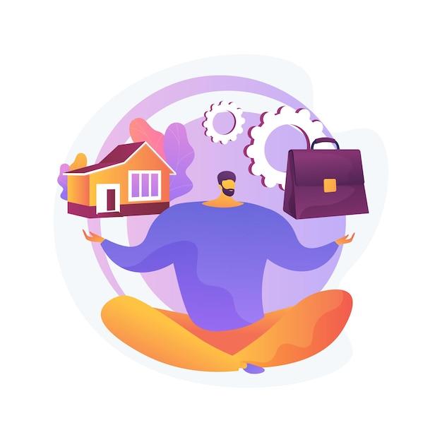 Evenwicht tussen werk en gezin abstracte concept illustratie. evenwicht tussen werk en privé, gelukkig gezin, zakelijke moeder vader thuis, kinderen op kantoor, timemanagement, freelance Gratis Vector