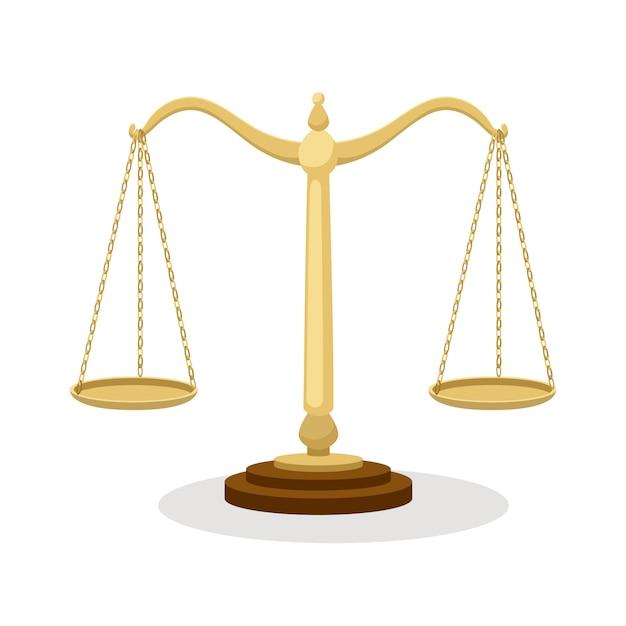 Evenwichtsschalen. bevindende saldo gerechtelijke schalen die op wit, het beeldverhaal van het hofconcept worden geïsoleerd Premium Vector