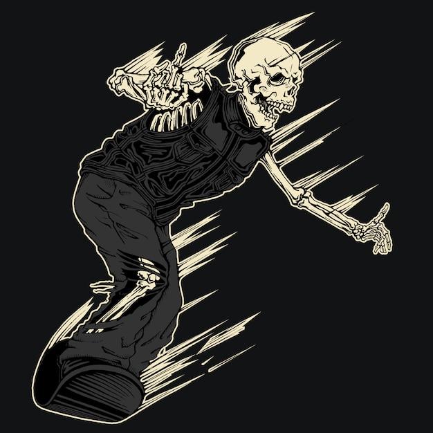 Evil demon skeleton snowboarden illustratie Premium Vector