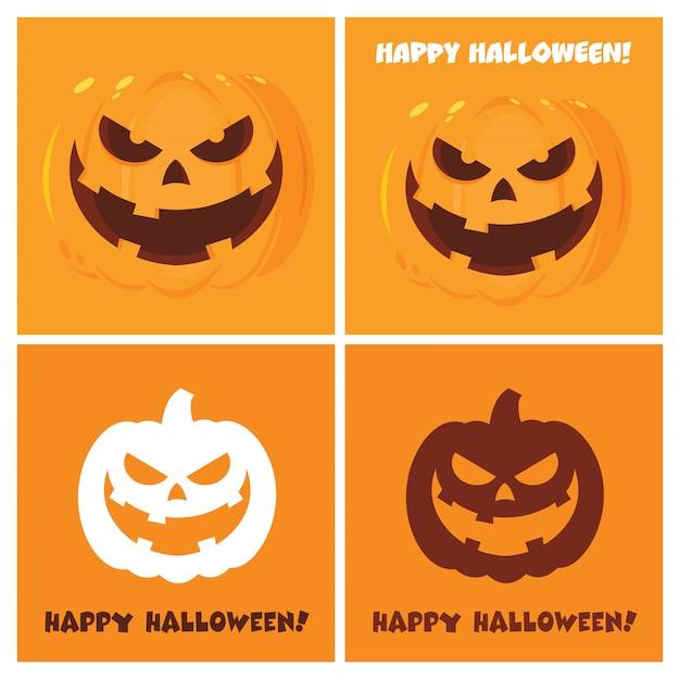 Evil halloween pumpkin cartoon posters flat design Premium Vector