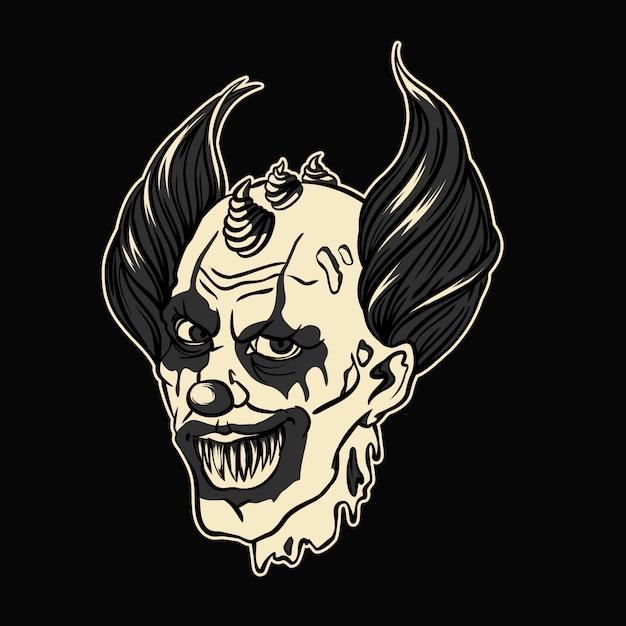 Evil hell clown halloween vector illustratie Premium Vector