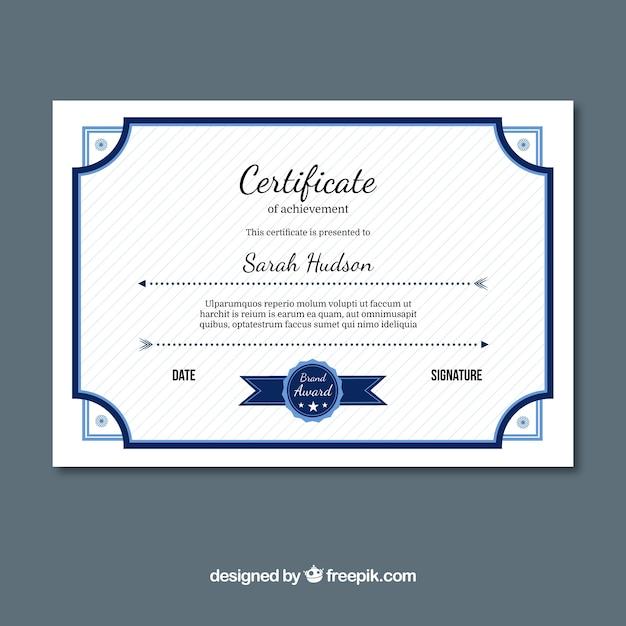 Excellence certificaat met blauwe elementen Gratis Vector