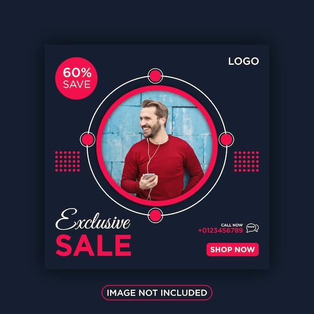Exclusieve verkoop sociale media instagram post Premium Vector