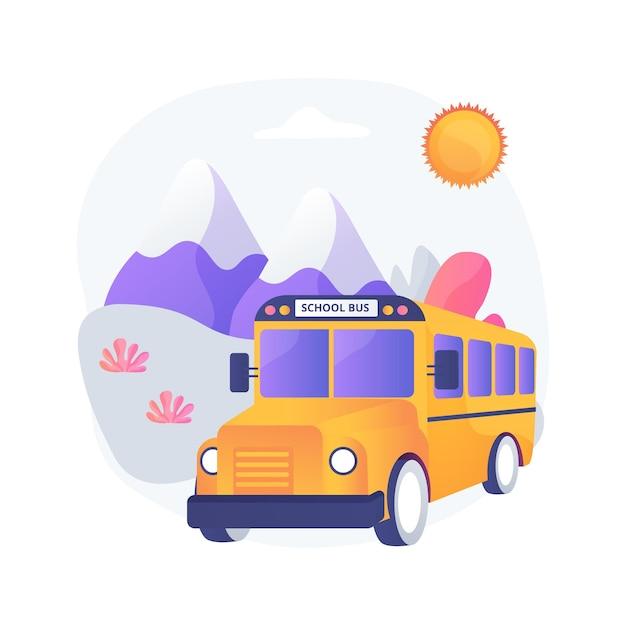 Excursie abstract concept illustratie. schoolreisje, excursie voor leerlingen, groepsreis student, verkenning van de natuur, culturele belevingsreis, activiteit scholingsproces Gratis Vector
