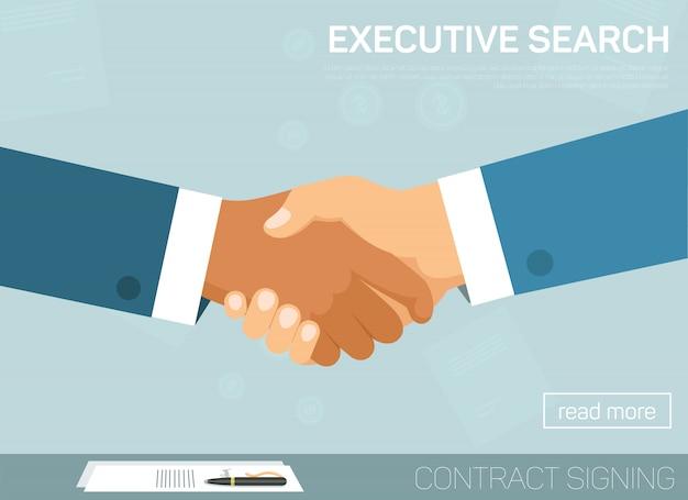 Executive search, handshake voor succesvolle deal. Premium Vector