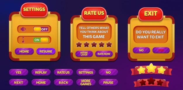 Exit, beoordeel ons en instellingen menu pop-up scherm met sterren en knop Premium Vector