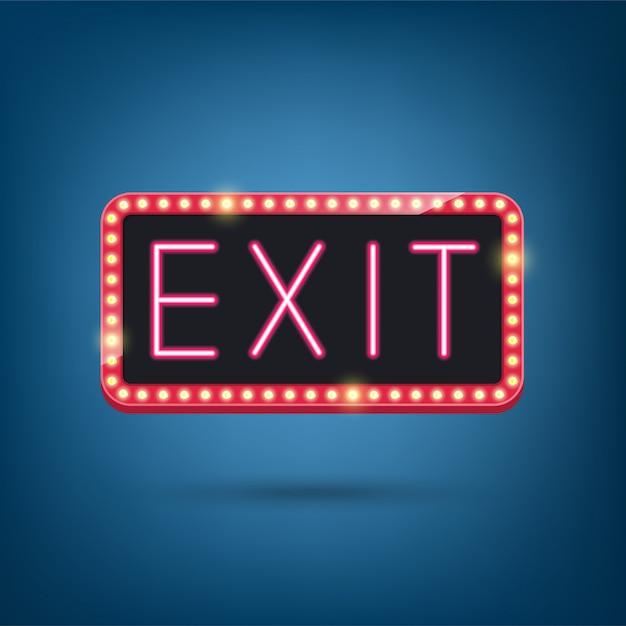 Exit, neon lamp, retro licht frame illustratie Premium Vector