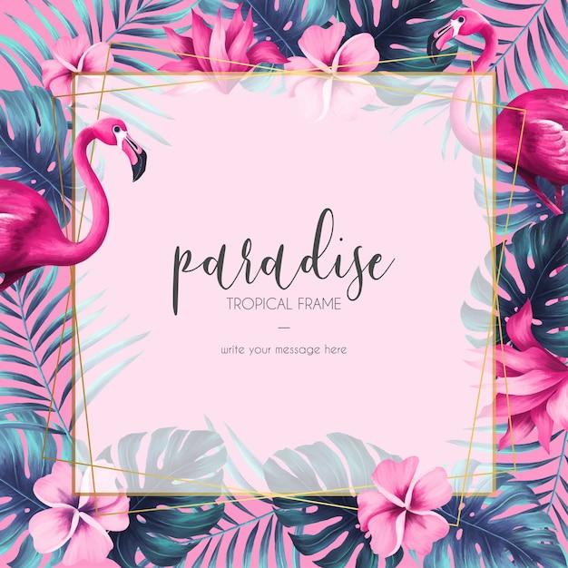 Exotisch bloemenframe met roze natuur en flamingo Gratis Vector