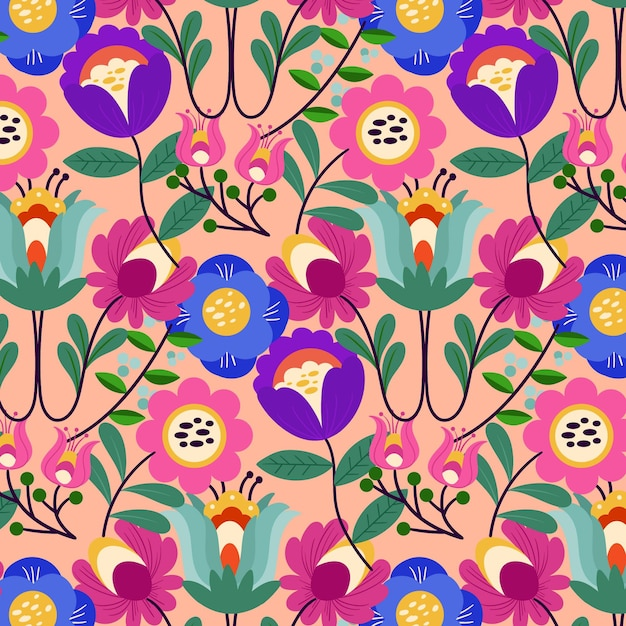 Exotisch bloemenpatroon geschilderd Gratis Vector