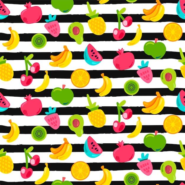 Exotisch fruit op strepen naadloos patroon Premium Vector