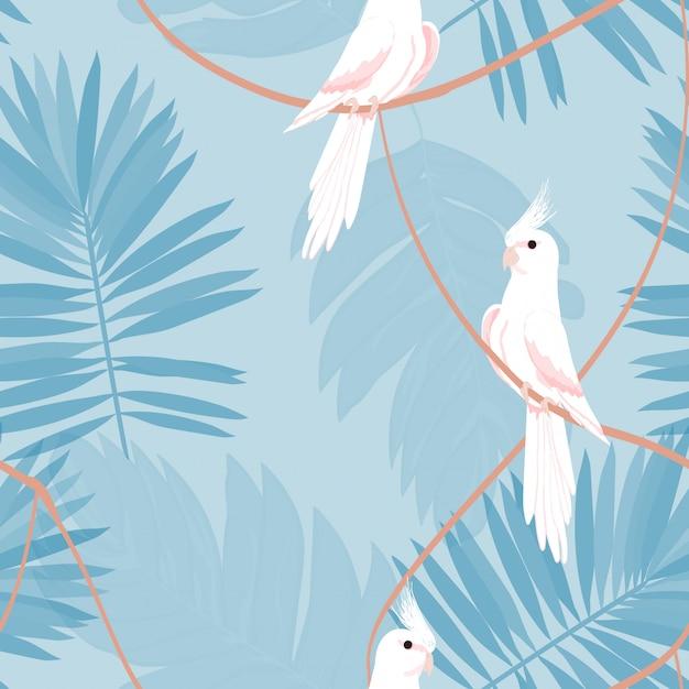 Exotisch naadloos patroon met een papegaai en tropische bladeren. Premium Vector