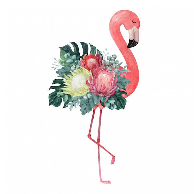 Exotische aquarel flamingo illustratie met tropische bloemen arrangement Premium Vector